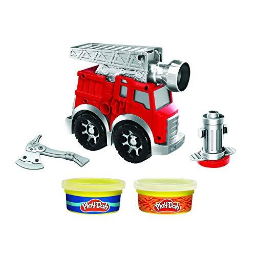 Play-Doh Juego de Ruedas para camión de Bomberos con 2 latas compuestas de Modelado no tóxicas Incluyendo Agua y Colores de Fuego, Juguete de camión de Bomberos para niños de 3 años en adelante