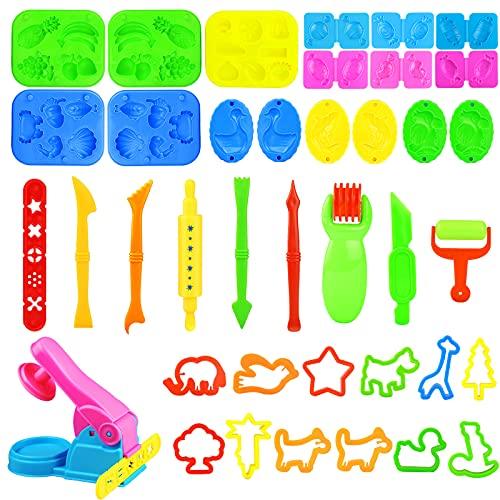 Yojoloin Herramientas Plastilina,44 Piezas Juegos de plastilina para niños 3 4 5 6 años,3D Moldes Plastilina Accesorios de Cortadores de Galletas Juguete de Arcilla para Niños Bebé (Color al Azar)