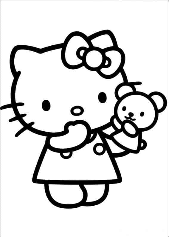 Hello Kitty para colorear con plastilina