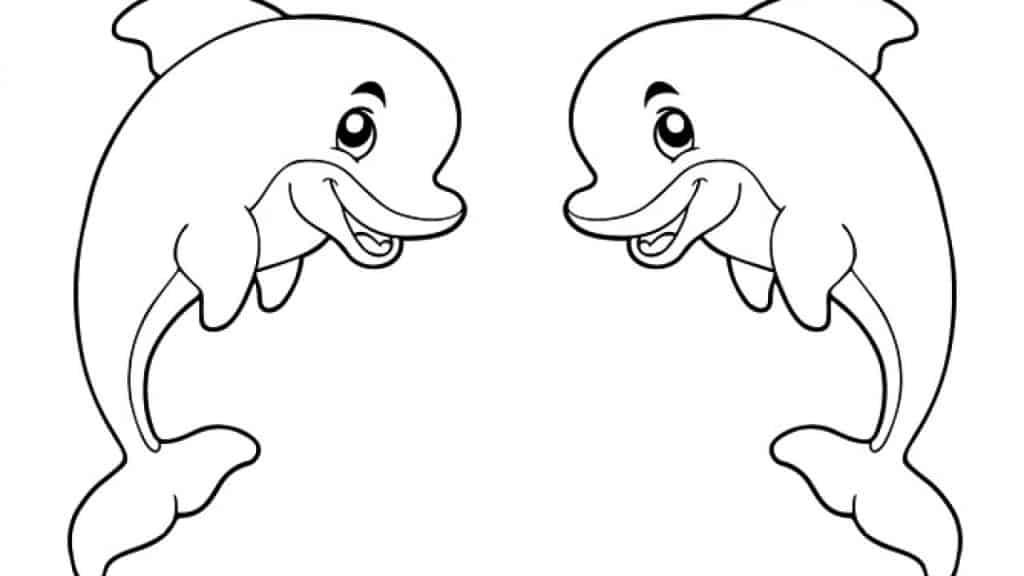 Delfines gemelos para colorear con plastilina